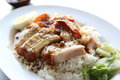 Rice roasted red pork in close up Royalty Free Stock Image