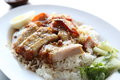Rice roasted red pork in close up Stock Images