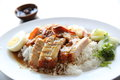 Rice roasted red pork in close up Royalty Free Stock Photo