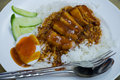 Rice roasted red pork thai food Royalty Free Stock Photography