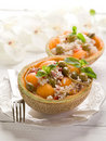Rice salad with melon Royalty Free Stock Photo