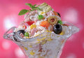 Rice salad portion in elegant glass Royalty Free Stock Photo