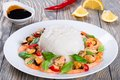 Rice and seafood: mussels, shrimps, baby spinach leaves, top view Royalty Free Stock Photo