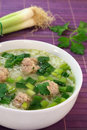 Rice soup with meat balls Royalty Free Stock Photos