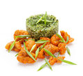 Rice with spinach and chicken nuggets traditional japanese green onions on a white background Stock Images