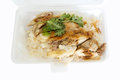Rice steamed with chicken soup on foam box pour sauce in Royalty Free Stock Image