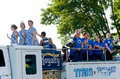 Rice street royalty at parade south st paul minnesota – june festival waves to crowd during annual south st paul kaposia days Stock Image