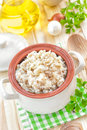 Rice with vegetables and meat in a bowl Stock Photo