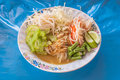 Rice vermicelli thai foods are thin noodles made from and are a form of noodles Stock Image