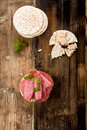 Rice wafers with salami topped and fresh herbs Royalty Free Stock Photo