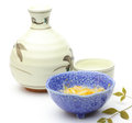 Rice wine with japanese appetizer pictured Royalty Free Stock Photo