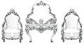 Rich Baroque Rococo armchair and dressing table set. French Luxury carved ornaments furniture. Vector Victoria