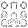 Rich Baroque Rococo armchair and dressing table set. French Luxury carved ornaments furniture. Vector Victorian