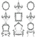 Rich Baroque Rococo furniture and frames set. French Luxury carved ornaments chandeliers accesories. Vector Victorian