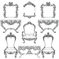 Rich Baroque Rococo furniture and frames set. French Luxury carved ornaments. Vector Victorian exquisite Style decorated