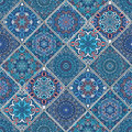 Rich blue tile ornament from mandalas seamless pattern in oriental style square patchwork design intricate pattern boho Royalty Free Stock Photos