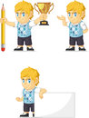 Rich boy customizable mascot blond Image stock