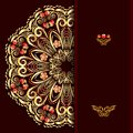 Rich burgundy background with a round gold floral pattern and place for text. Royalty Free Stock Photo