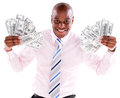 Rich business man with a bunch of dollars isolated over a white background Royalty Free Stock Images