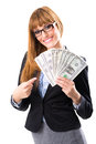 Rich business woman holding dollar bills Stock Image
