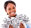 Rich business woman holding dollar bills isolated over white Royalty Free Stock Photo