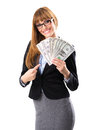Rich business woman holding dollar bills isolated white Stock Photos