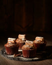 Rich chocolate cakes on slate board dusted with icing sugar Royalty Free Stock Photo