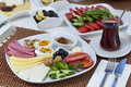Rich and delicious turkish breakfast on white wood table Royalty Free Stock Images