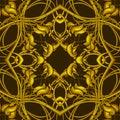 Rich fantasy golden pattern con gli elementi fantastici del fogliame per Fotografia Stock