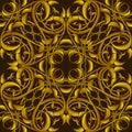 Rich fantasy golden pattern con gli elementi fantastici del fogliame per Immagine Stock