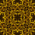 Rich fantasy golden pattern con los elementos fantásticos del follaje para Imagen de archivo