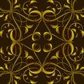 Rich fantasy golden pattern med fantastiska lövverkbeståndsdelar för Arkivbild