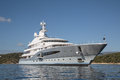 Rich front view of five story luxury yacht on the mediterranea mediterranean sea big motorboat blue ocean Royalty Free Stock Photography