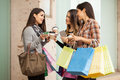 Rich girls hanging out at a shopping mall Royalty Free Stock Photo