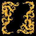 Rich gold vector baroque curly ornamental corners
