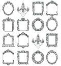 Rich Imperial Baroque Rococo frames set. French Luxury carved ornaments. Vector Victorian exquisite Style decorated Royalty Free Stock Photo