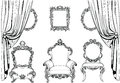 Rich Imperial Baroque Rococo furniture and frames set. French Luxury carved ornaments. Vector Victorian exquisite Style