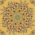 Rich with saturated colors, beautiful medieval ornament. Seamless floral pattern of circular floral elements. Vector design of man Royalty Free Stock Photo