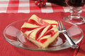 Rich strawberry cheesecake slices of gourmet with coffee Stock Images