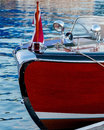 Rich and warm wood colors and chrome hardware adorn boat wooden Royalty Free Stock Image
