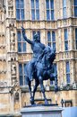Statue of Richard the Lionheart outside the Houses Parliament, London. Royalty Free Stock Photo