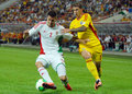 Richard guzmics and bogdan stancu in romania hungary s s pictured action during the fifa world cup qualifier game between Stock Image