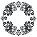 Richelieu embroidery stitches inspired lace pattern with floral elements: leaves, swirl, leaves in black and white in lace in oval