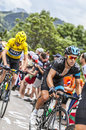 Richie porte and chris froome climbing alpe d huez france july the cyclists from team sky the difficult road to during Royalty Free Stock Photos