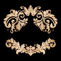 Richly decorated golden vintage baroque scroll design frame flor