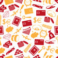 Richness and money theme color icons seamless pattern Royalty Free Stock Photo
