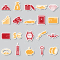 Richness and money theme color stickers set Royalty Free Stock Photo