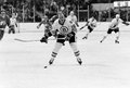 Rick middleton boston bruins vintage image of forward takes a shot on net image from b w negative Stock Images