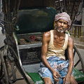 Rickshaw Driver in Calcutta Stock Photography