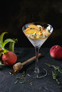 Ricotta dessert with peach Royalty Free Stock Photo